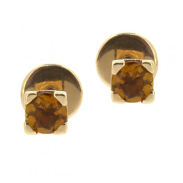 Золотые серьги-пусеты в красном золоте с цитринами ECt-6559