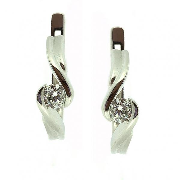 Ювелирные серьги из белого золота 585 пробы с бриллиантами ED-6277w