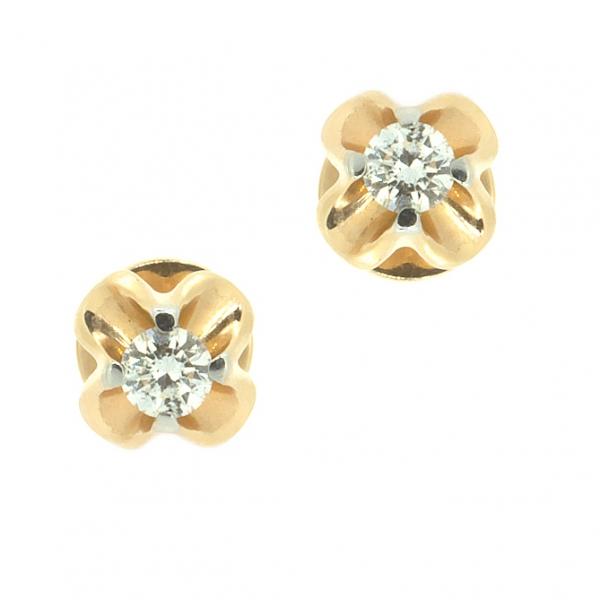Золотые серьги-пусеты в красном золоте с бриллиантами ED-6558