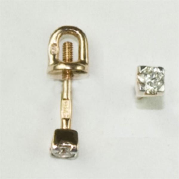 Золотые серьги-пусеты в красном золоте с бриллиантами ED-6559