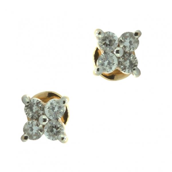 Золотые серьги-пусеты в красном золоте с бриллиантами ED-6560