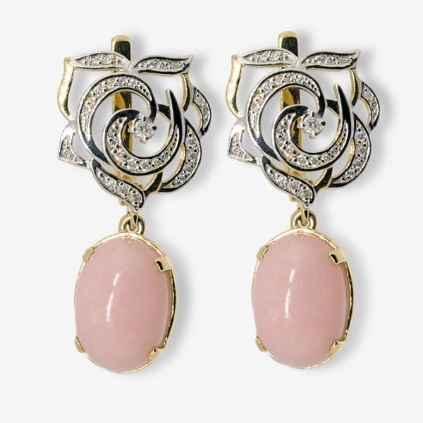 Серьги из жёлтого золота 585 пробы с розовыми опалами и бриллиантами EOp/r-6516y