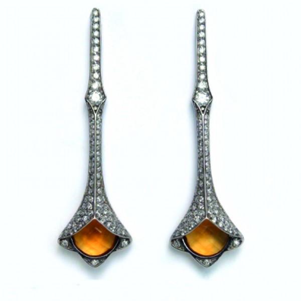 Ювелирные серьги из белого золота 585 пробы с цитринами и бриллиантами ECt-6589w