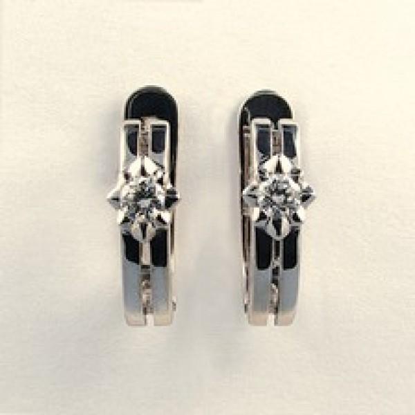 Ювелирные серьги из белого золота 585 пробы с бриллиантами ED-6262w