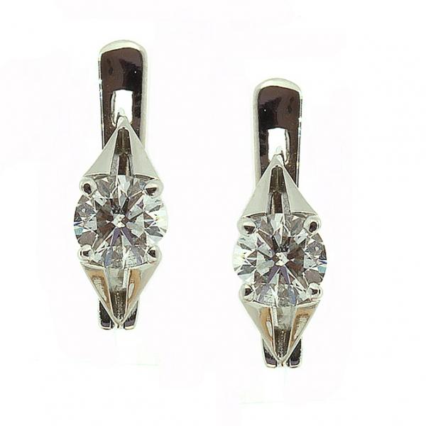 Ювелирные серьги из белого золота 585 пробы с бриллиантами ED-6266/17w