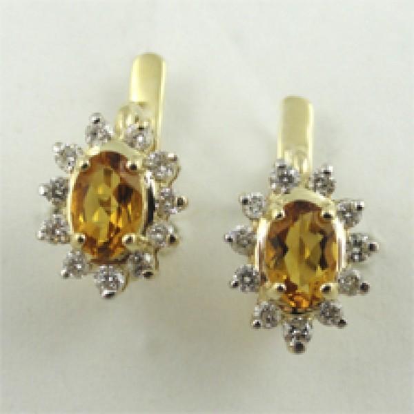 Ювелирные серьги из жёлтого золота 585 пробы с цитринами и бриллиантами BCt-93y
