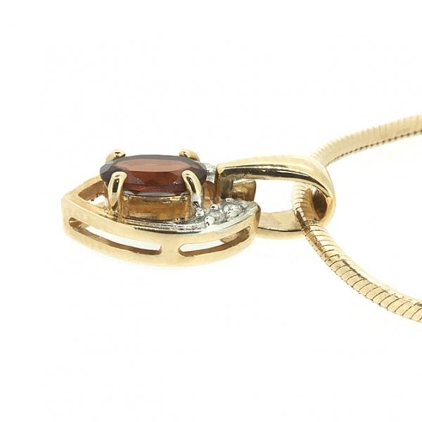 Ювелирная подвеска из красного золота 585 пробы с гранатом и бриллиантами PGn-6202