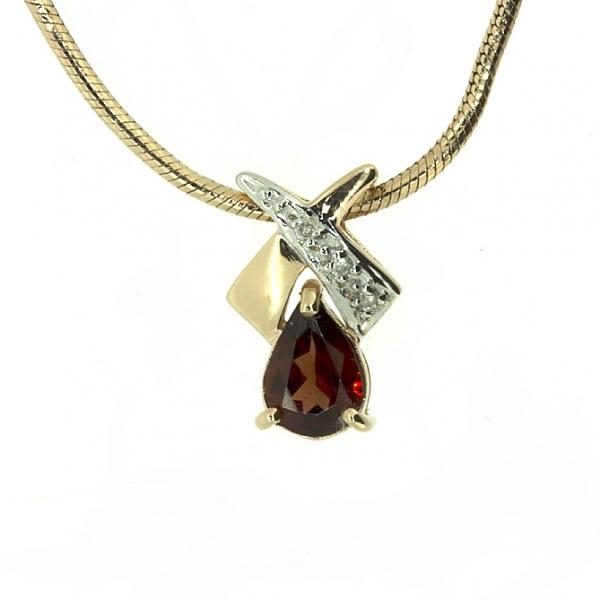 Ювелирная подвеска из красного золота 585 пробы с гранатом и бриллиантами PGn-16984