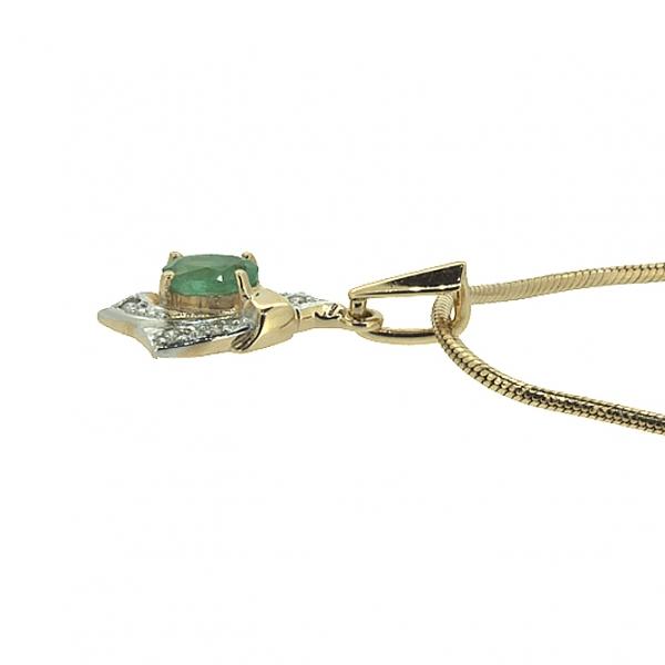 Ювелирная подвеска из красного золота 585 пробы с изумрудом и бриллиантами PE-1014