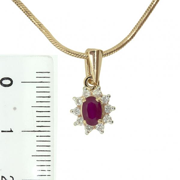 Ювелирная подвеска из красного золота 585 пробы с рубином и бриллиантами PR-349