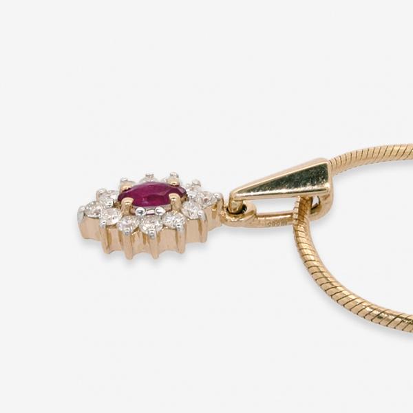 Ювелирная подвеска из красного золота 585 пробы с рубином и бриллиантами PR-428