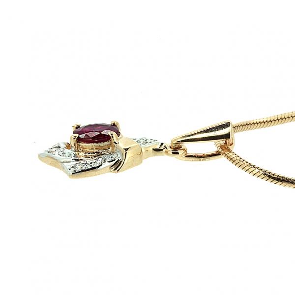 Ювелирная подвеска из красного золота 585 пробы с рубином и бриллиантами PR-1014