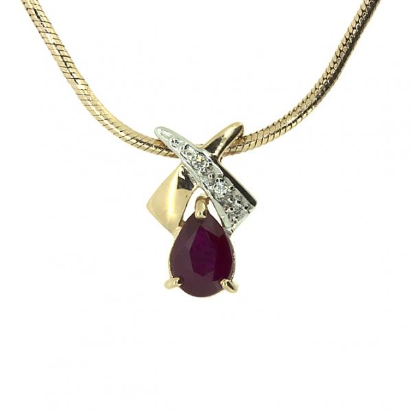 Ювелирная подвеска из красного золота 585 пробы с рубином и бриллиантами PR-16984