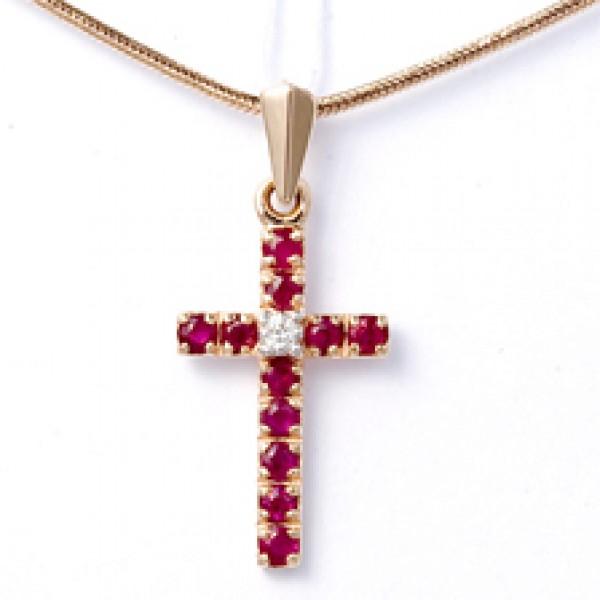 Ювелирная подвеска из красного золота 585 пробы с рубинами и бриллиантом PR-13279