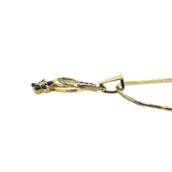 Ювелирная подвеска из красного золота 585 пробы с сапфирами и бриллиантами PS-6490