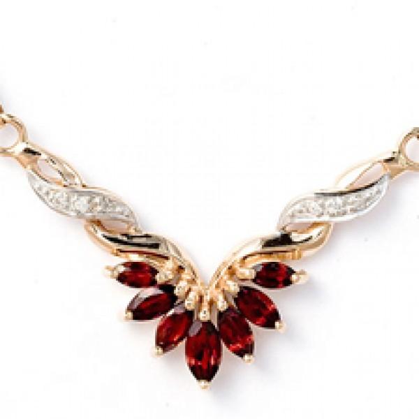 Ювелирное колье из красного золота 585 пробы с гранатами и бриллиантами NGn-6096