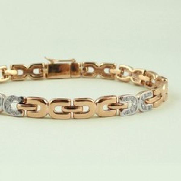 Ювелирный браслет из красного золота 585 пробы с бриллиантами BC-6542/4