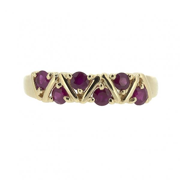 Ювелирное кольцо из красного золота 585 пробы с рубинами RR-32792