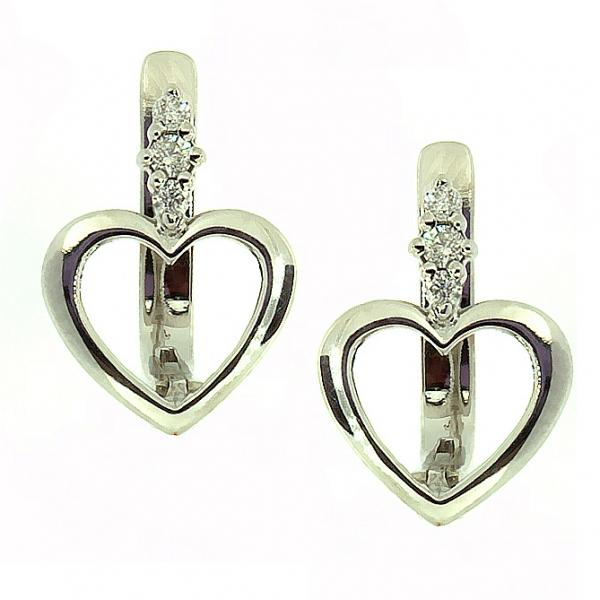Ювелирные серьги из белого золота 585 пробы с бриллиантами ED-5510w