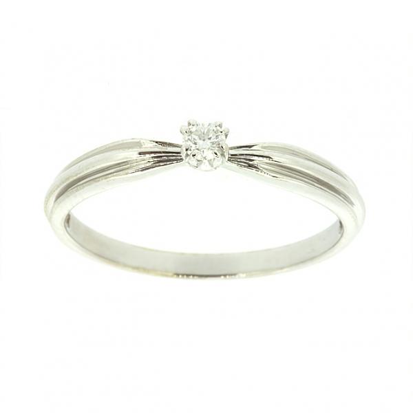 Ювелирное кольцо из белого золота 585 пробы с бриллиантом RD-5520w