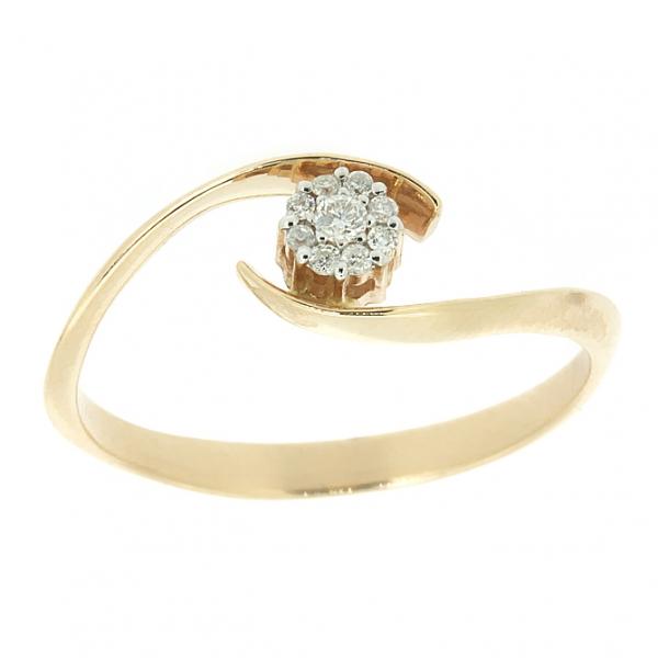 Ювелирное кольцо из красного золота 585 пробы с бриллиантом RD-6699