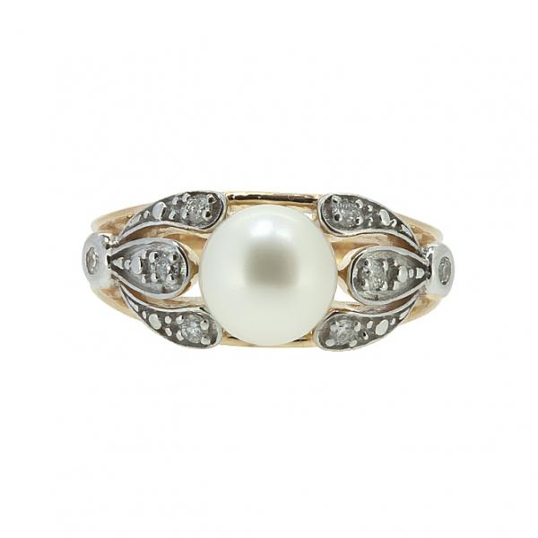 Ювелирное кольцо из красного золота 585 пробы с жемчугом и бриллиантами RDP-6728
