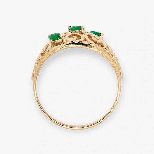 Ювелирное кольцо из красного золота 585 пробы с изумрудами RE-5522
