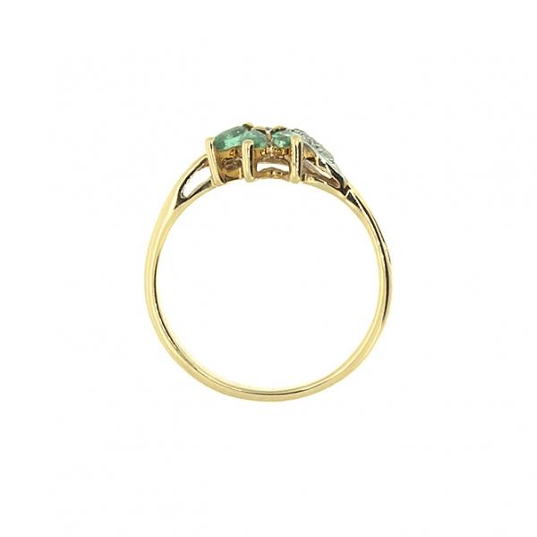 Ювелирное кольцо из красного золота 585 пробы с изумрудами и бриллиантами RE-6701