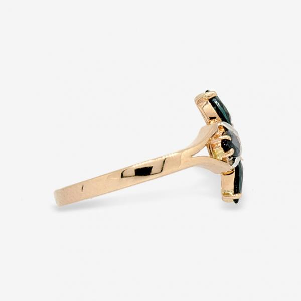 Ювелирное кольцо из красного золота 585 пробы с сапфирами и бриллиантом RS-5504