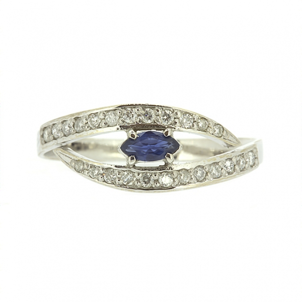 Ювелирное кольцо из белого золота 585 пробы с сапфиром и бриллиантами RS-6730w