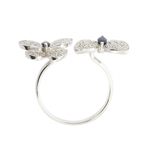 Ювелирное кольцо из белого золота 585 пробы с сапфирами и бриллиантами RS-6722w