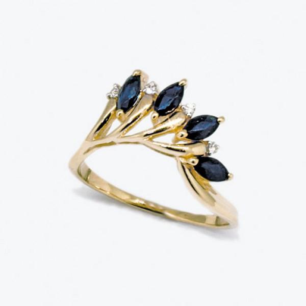 Ювелирное кольцо из красного золота 585 пробы с сапфирами и бриллиантами RS-6729