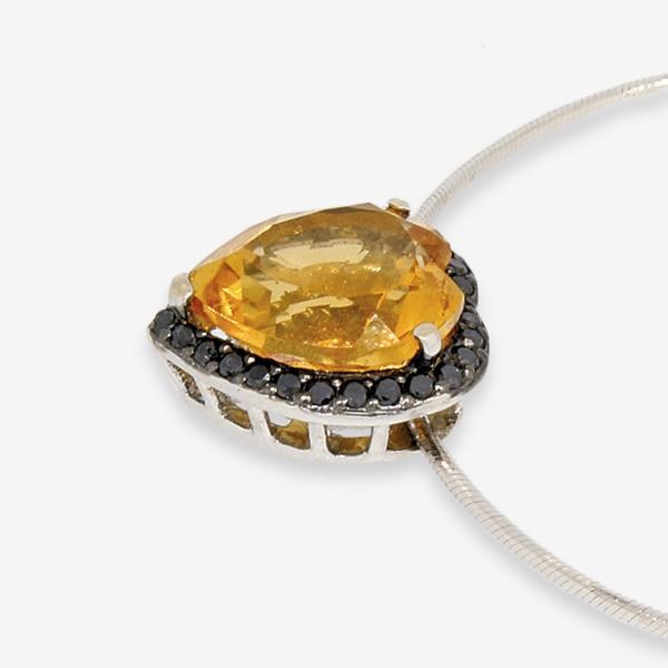 Ювелирная подвеска из белого золота 585 пробы с цитрином и чёрными бриллиантами PCtDb-6657w
