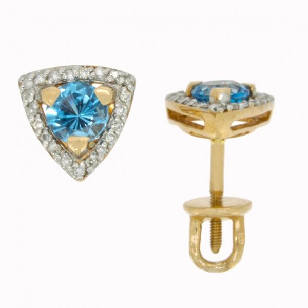 Золотые серьги-пусеты в красном золоте с топазами и бриллиантами ET-6686