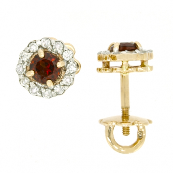 Золотые серьги-пусеты в красном золоте с гранатами и бриллиантами EGn-6539