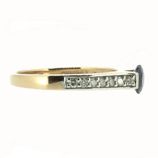 Ювелирное кольцо из красного золота 585 пробы с сапфиром и бриллиантами RS-6567
