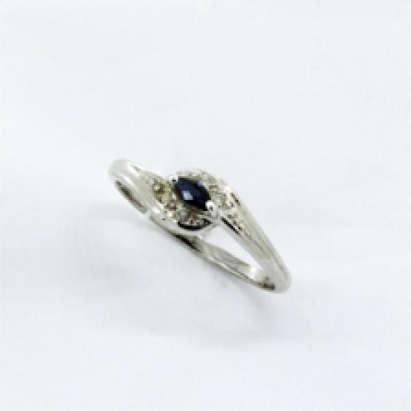 Ювелирное кольцо из белого золота 585 пробы с сапфиром и бриллиантами RS-6057w