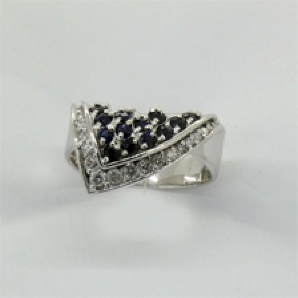 Ювелирное кольцо из белого золота 585 пробы с сапфирами и бриллиантами RS-6005w