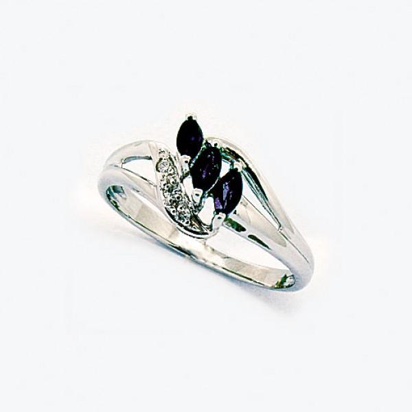 Ювелирное кольцо из белого золота 585 пробы с сапфирами и бриллиантами RS-4284w
