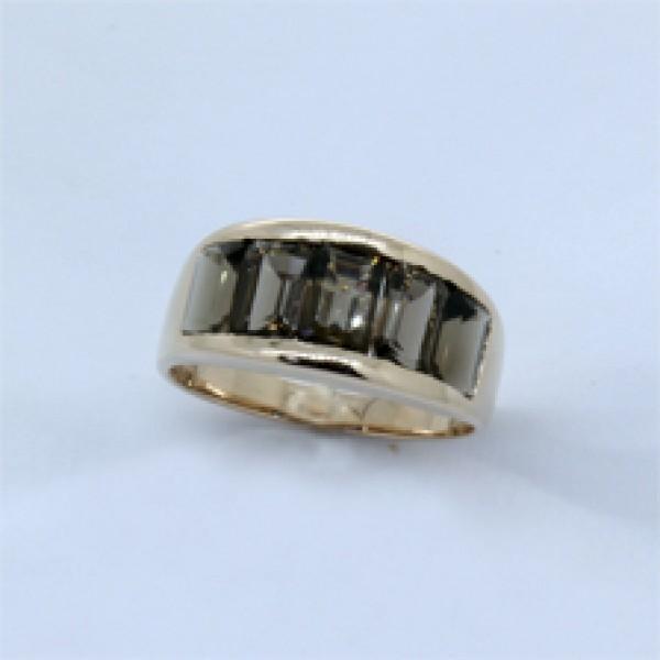 Ювелирное кольцо из красного золота 585 пробы с раухтопазами RRt-6247