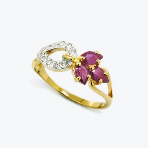 Ювелирное кольцо из красного золота 585 пробы с рубинами и бриллиантами RR-6536