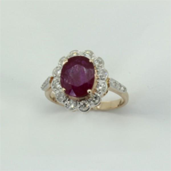 Ювелирное кольцо из красного золота 585 пробы с рубином и бриллиантами RR-6281