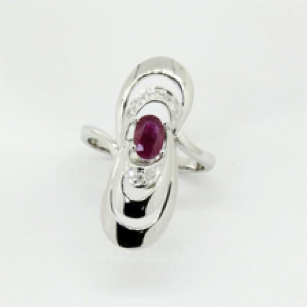 Ювелирное кольцо из белого золота 585 пробы с рубином и бриллиантами RR-6270w