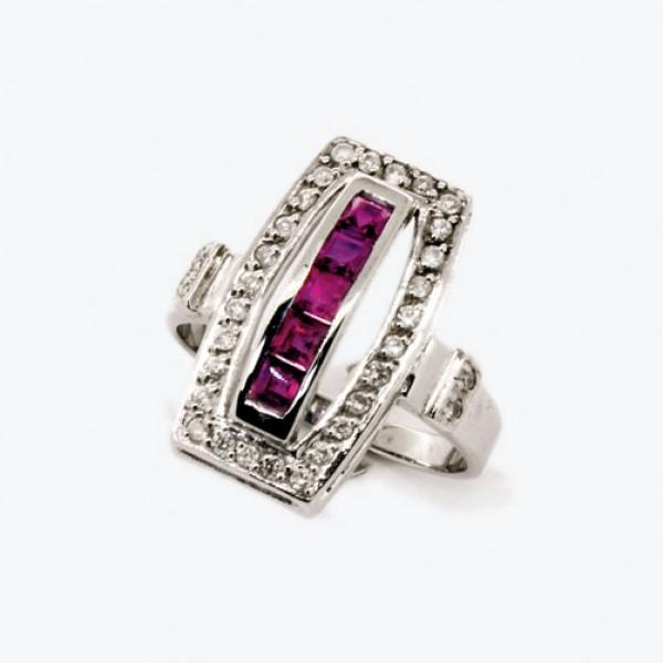 Ювелирное кольцо из белого золота 585 пробы с рубинами и бриллиантами RR-6160w