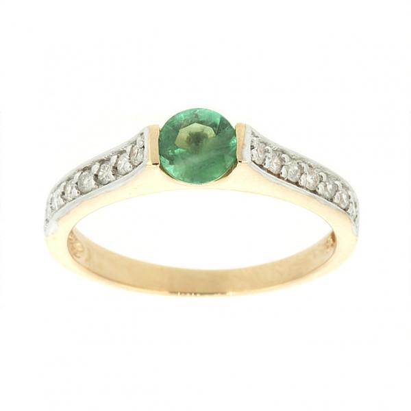 Ювелирное кольцо из красного золота 585 пробы с изумрудом и бриллиантами RE-6567