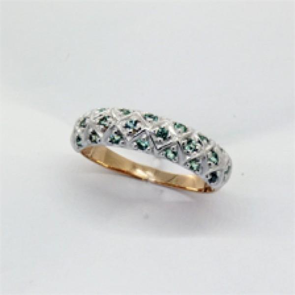 Ювелирное кольцо из красного золота 585 пробы с изумрудами RE-6562