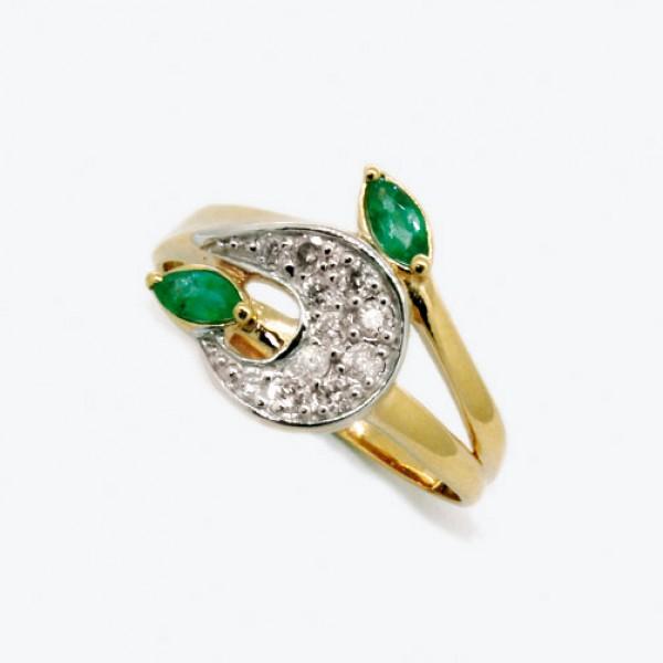 Ювелирное кольцо из красного золота 585 пробы с изумрудами и бриллиантами RE-6548