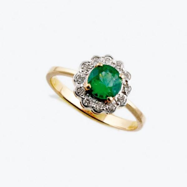 Ювелирное кольцо из красного золота 585 пробы с изумрудом и бриллиантами RE-6287