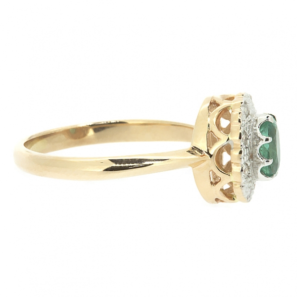 Ювелирное кольцо из красного золота 585 пробы с изумрудом и бриллиантами RE-5502