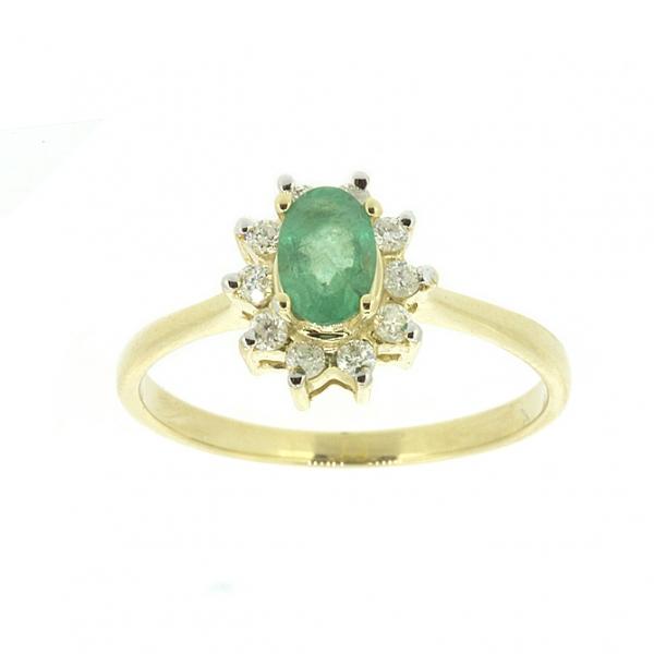 Ювелирное кольцо из жёлтого золота 585 пробы с изумрудом и бриллиантами RE-4235y